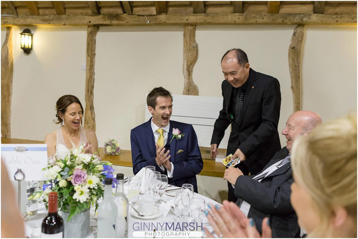 Wedding Top Table colourful cards trick